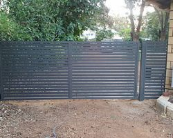Single Swing Electric Vehicle Gate & Fence Infill